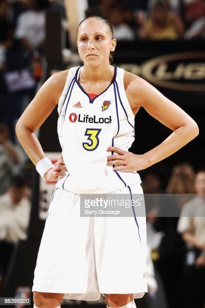 Diana Taurasi of the Phoenix Mercury takes a break from the action during the WNBA game against the San Antonio Silver Stars on June 6 2008 at US...