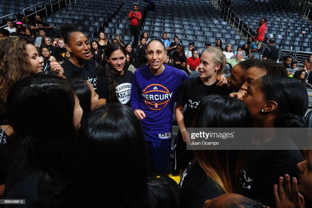 Diana Taurasi #3 of the Phoenix Mercury talks to fans after the game against the Los Angeles Sparks on June 18, 2017 at STAPLES Center in Los Angeles, California.