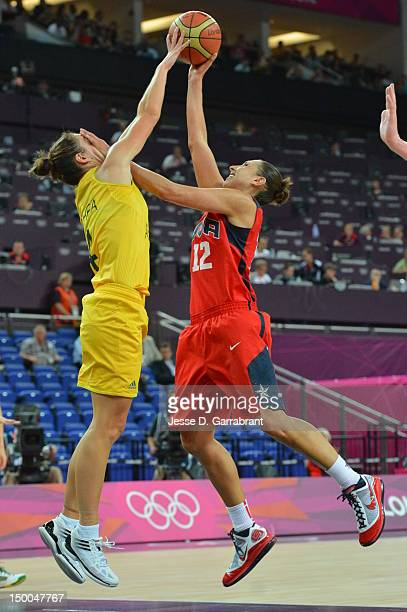 Diana Taurasi of the United States shoots against Australia during their Basketball Game on Day 13 of the London 2012 Olympic Games at the North...