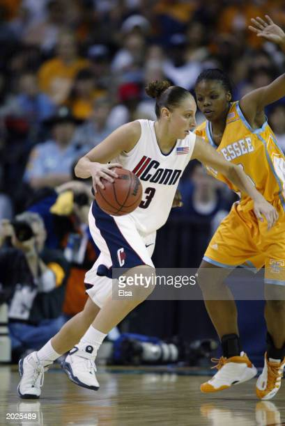 Diana Taurasi of the University of Connecticut Huskies drives the ball during the NCAA Women's Championship game against the University of Tennessee...