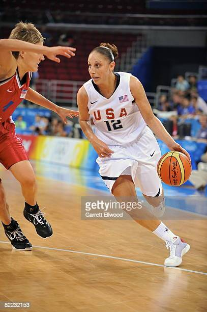 Diana Taurasi of the U.S. Women's Senior National Team drives against the Czech Republic during day one of basketball at the 2008 Beijing Summer...