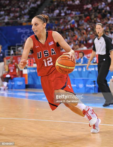 Diana Taurasi of the U.S. Women's Senior National Team drives against Russia during the women's semifinals basketball game at the 2008 Beijing...