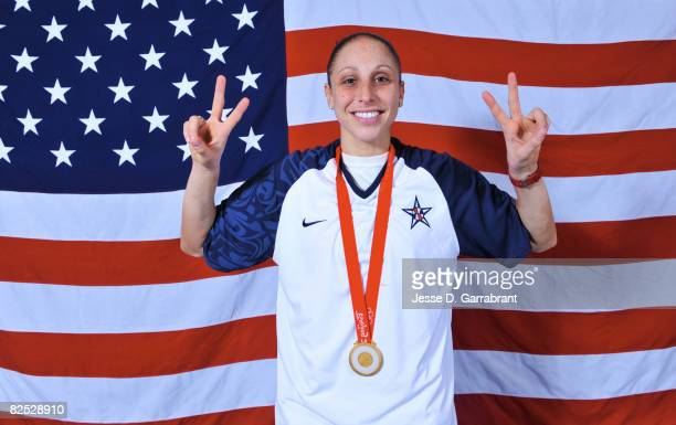 Diana Taurasi of the U.S. Women's Senior National Team poses for a portrait after winning the gold medal against Australia at the Beijing Olympic...
