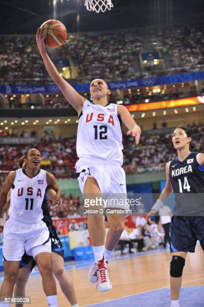 Diana Taurasi of the U.S. Women's Senior National Team shoots against Korea during their quaterfinal women's basketball game on Day 11 of the Beijing...