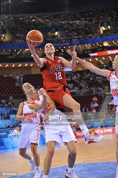 Diana Taurasi of the U.S. Women's Senior National Team shoots against Russia during the women's semifinals basketball game at the 2008 Beijing...