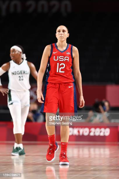 Diana Taurasi of the USA Basketball Womens National Team looks on during the game against the Nigeria Women's National Team during the 2020 Tokyo...