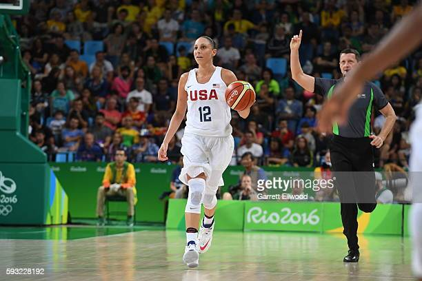 Diana Taurasi of the USA Women's National Basketball Team brings the ball up court against Spain during the Gold Medal Game on Day 15 of the Rio 2016...