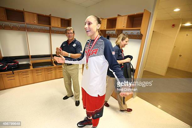 Diana Taurasi of the Women's Senior US National Team celebrates in the locker room after defeating Spain during the finals of the 2014 FIBA World...