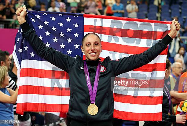 Diana Taurasi of United States celebrates after defeating France 8650 to win the gold medal in the Women's Basketball gold medal game on Day 15 of...