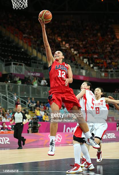 Diana Taurasi of United States lays up a shot against China during the Women's Basketball Preliminary Round match on Day 9 of the London 2012 Olympic...