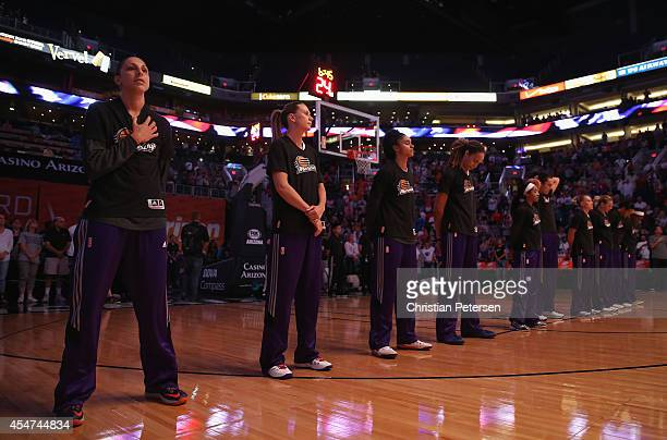Diana Taurasi Penny Taylor Candice Dupree and Brittney Griner of the Phoenix Mercury before the WNBA game against the Los Angeles Sparks at US...