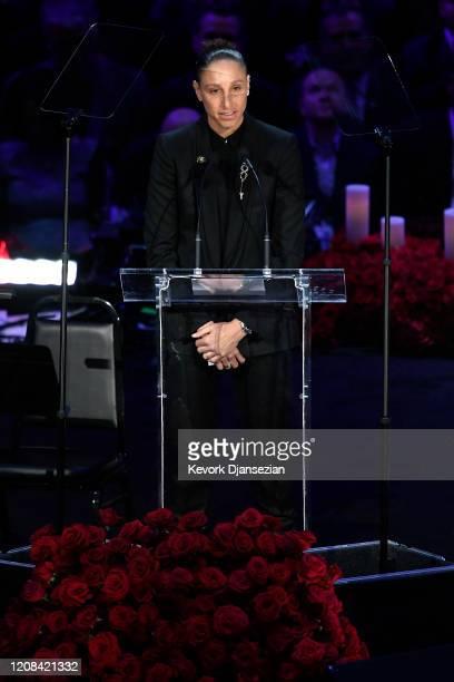 Diana Taurasi speaks during The Celebration of Life for Kobe Gianna Bryant at Staples Center on February 24 2020 in Los Angeles California