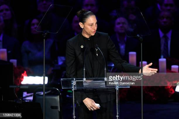 Diana Taurasi speaks during The Celebration of Life for Kobe & Gianna Bryant at Staples Center on February 24, 2020 in Los Angeles, California.