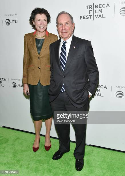 Diana Taylor and CEO of Bloomberg LP Michael Bloomberg attend 'From the Ashes' Premiere 2017 Tribeca Film Festival on April 26 2017 in New York City