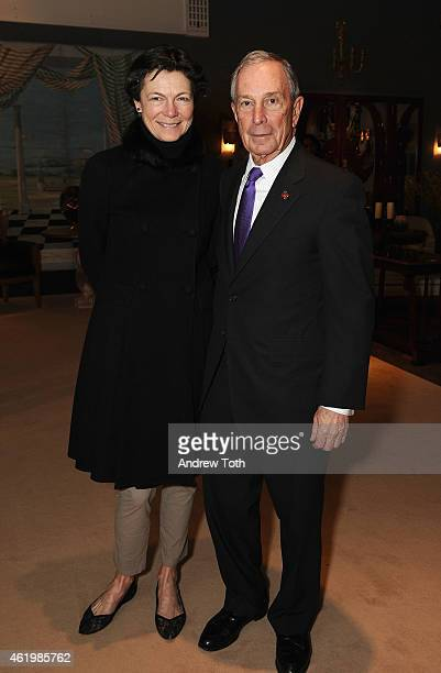 Diana Taylor and Michael Bloomberg attend the 61st Annual Winter Antiques Show opening night party at Park Avenue Armory on January 22 2015 in New...