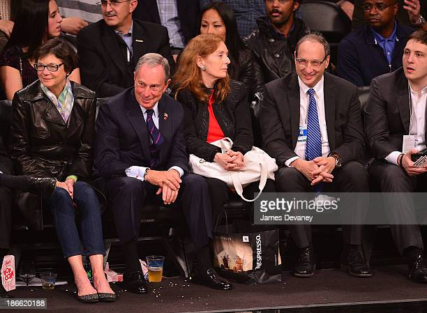 Diana Taylor Mayor Michael Bloomberg Pamela Lipkin and Bruce Ratner attend the Miami Heat vs Brooklyn Nets game at Barclays Center on November 1 2013...