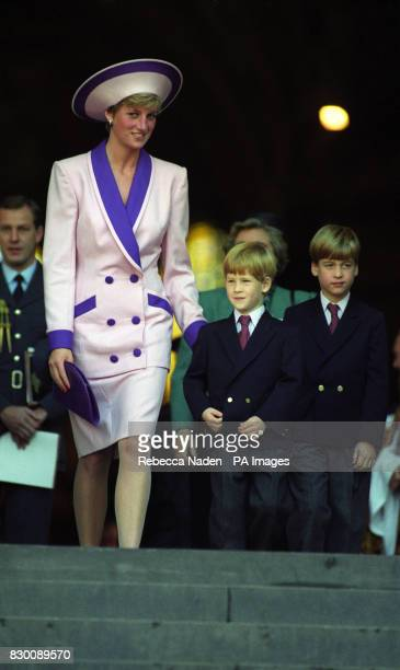 Diana The Princess of Wales accompanied by her children Prince William and Prince Harry attend a service at St Paul's Cathedral to commemorate the...