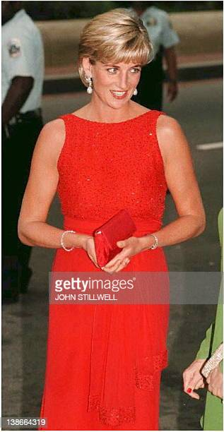 Diana the Princess of Wales after arriving 17 June at the Museum of Women in the Arts in Washington to attend a gala dinner for landmine victims A...