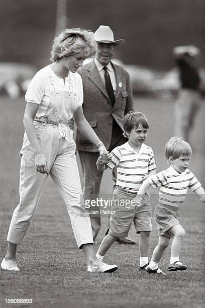 Diana The Princess Of Wales And Prince William And Prince Harry At A Polo Match Smiths Lawn Windsor