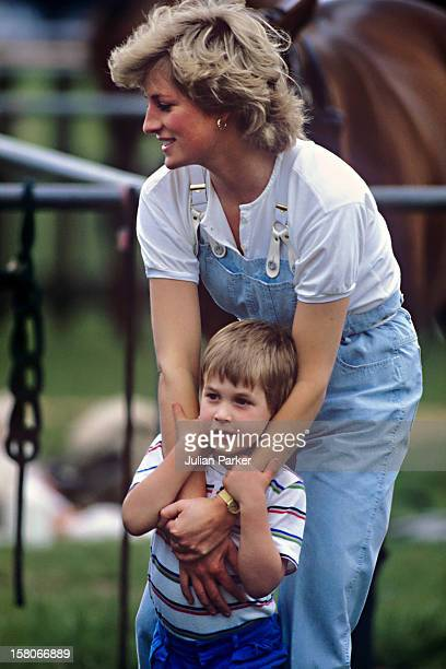 Diana The Princess Of Wales And Prince William At A Polo Match Smiths Lawn Windsor