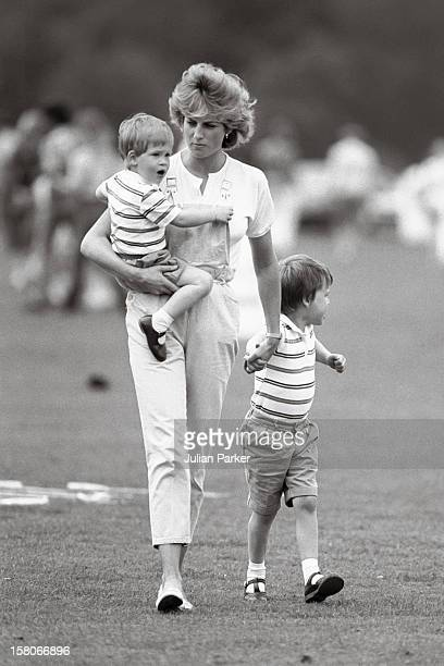 Diana The Princess Of Wales And Prince WilliamAnd Prince Harry At A Polo Match Smiths Lawn Windsor