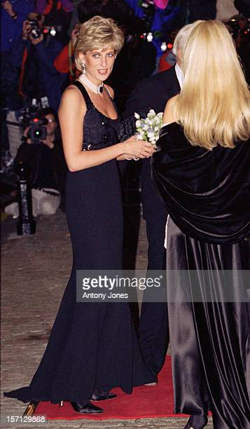 Diana The Princess Of Wales Attends A Gala Dinner In Aid Of Cancer Research