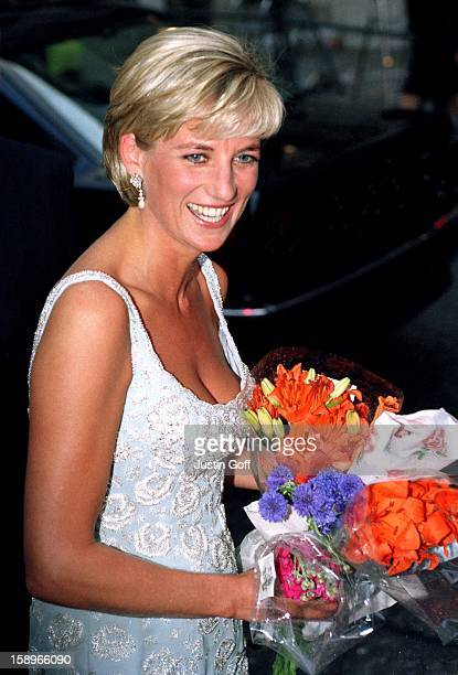 Diana The Princess Of Wales Attends A Gala Reception Preview Of Her 'Dresses Auction' At Christies In London