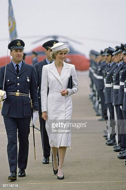 Diana, The Princess Of Wales, During A Visit To Raf Wittering. Diana Is Wearing A Coat Dress By Fashion Designer Catherine Walker
