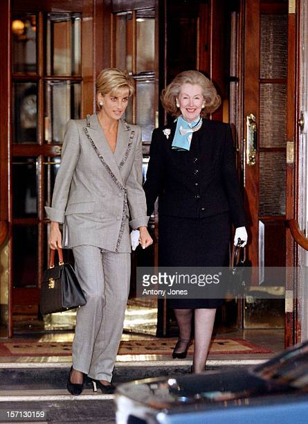 Diana The Princess Of Wales Has Lunch With Her Stepmother Raine Spencer At The Connaught Hotel In Mayfair