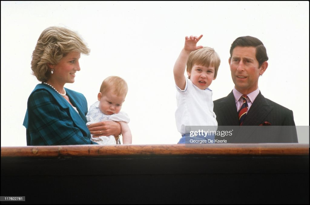 Diana the Princess of Wales holds her son Harry, whilst looking at Prince William held by his father Prince Charles on May 5, 1985 in Venice, Italy. Prince William will celebrate his 21st birthday on June 21, 2003. On July 1st Diana, Princess Of Wales would have celebrated her 50th Birthday Please refer to the following profile on Getty Images Archival for further imagery. //www.gettyimages.co.uk/Search/Search.aspx?EventId=107811125&EditorialProduct=Archival //www.gettyimages.co.uk/Account/MediaBin/LightboxDetail.aspx?Id=17267941&MediaBinUserId=5317233 Following Diana's Death: //www.gettyimages.co.uk/Account/MediaBin/LightboxDetail.aspx?Id=18894787&MediaBinUserId=5317233 //www.gettyimages.co.uk/Account/MediaBin/LightboxDetail.aspx?Id=18253159&MediaBinUserId=5317233