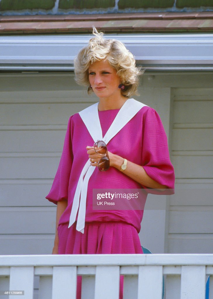 Diana, Princess of Wales, attends a Polo match at Smiths Lawn. Windsor : News Photo