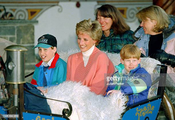 Diana, The Princess Of Wales, Prince William And Prince Harry, Ride In A Horse Drawn Sleigh, In Lech Austria, During Their Annual Ski Holiday,...