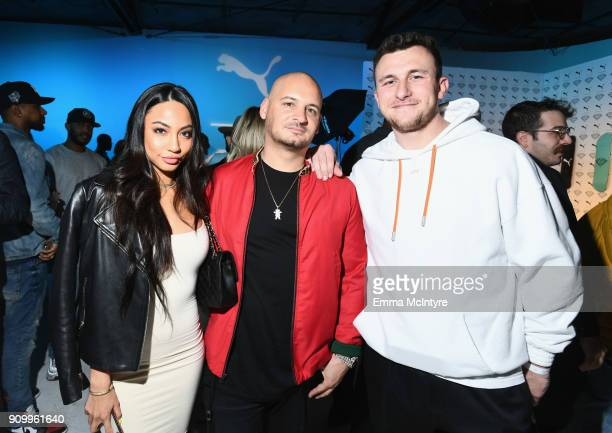 Diana Tran, Nick Tershay and Johnny Manziel attend PUMA X Diamond Supply Launch Event on January 24, 2018 in Los Angeles, California.