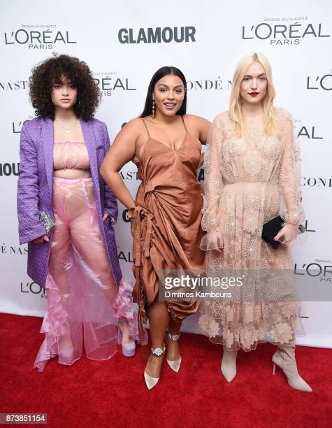 Diana Veras Paloma Elsesser and Carlotta Kohl attend Glamour's 2017 Women of The Year Awards at Kings Theatre on November 13 2017 in Brooklyn New York