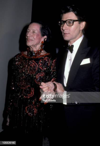 Diana Vreeland and Yves Saint Laurent during Yves Saint Laurent Party in New York City December 5 1983 at Metropolitan Museum of Art in New York New...