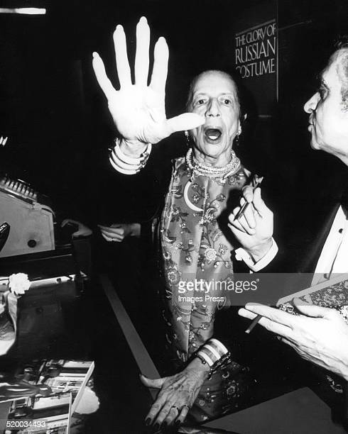 Diana Vreeland attends The Glory of Russian Costume Exhibit Opening at the Metropolitan Museum of Art on December 6 1976 in New York City