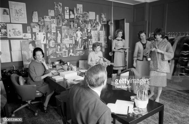 Diana Vreeland Fashion Editor of Harper's Bazaar in an editorial meeting in her office May 1 1953