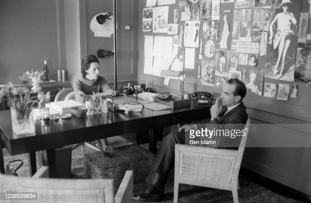 Diana Vreeland Fashion Editor of Harper's Bazaar in her office with Art Director and photographer Alexey Brodovitch May 1 1953