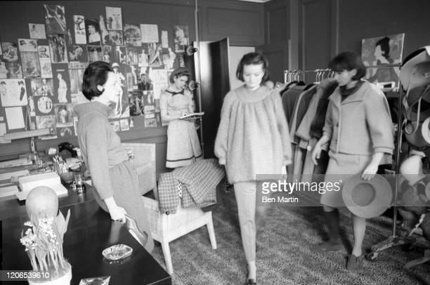 Diana Vreeland Fashion Editor of Harper's Bazaar selecting designs for an issue of the magazine May 1 1953