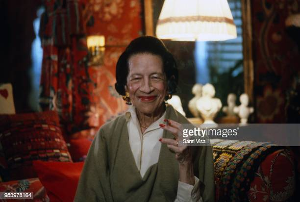 Diana Vreeland posing for a photo on July 20 1982 in New York New York