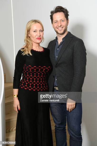 Diana Widmaier Picasso and Derek Blasberg attends Mene 24 Karat Jewelry Presentation at Gagosian Gallery on January 23 2018 in Paris France