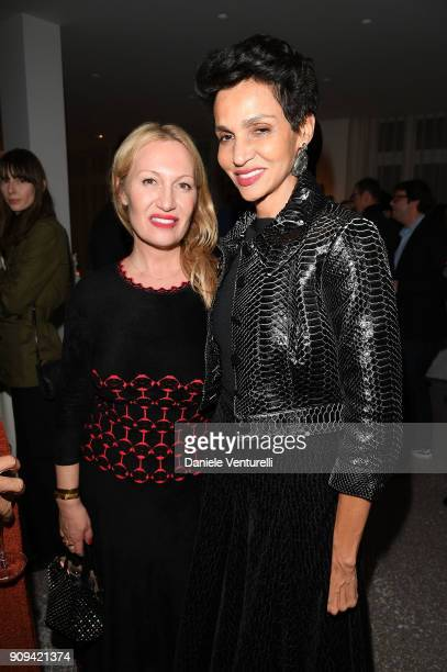 Diana Widmaier Picasso and Farida Khelfa attend Mene 24 Karat Jewelry Presentation at Gagosian Gallery on January 23 2018 in Paris France