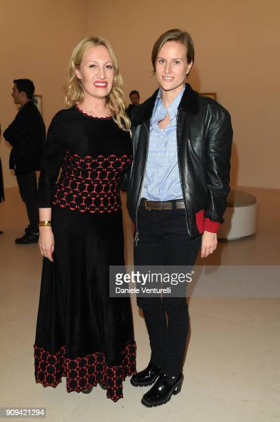 Diana Widmaier Picasso and Olympia Scarry attend Mene 24 Karat Jewelry Presentation at Gagosian Gallery on January 23 2018 in Paris France