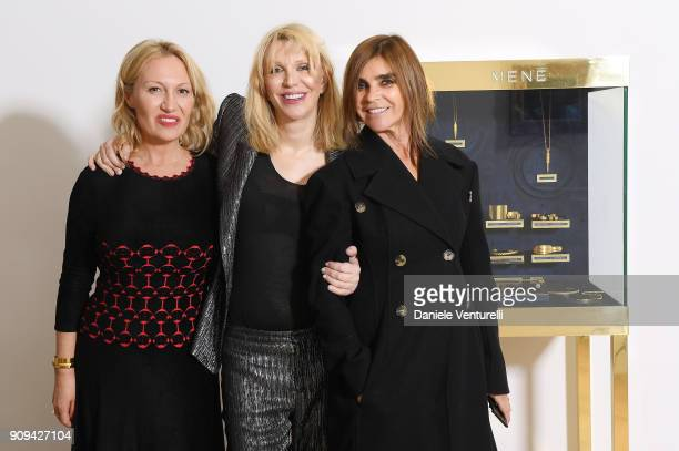 Diana Widmaier Picasso Courtney Love and Carine Roitfeld attend Mene 24 Karat Jewelry Presentation at Gagosian Gallery on January 23 2018 in Paris...