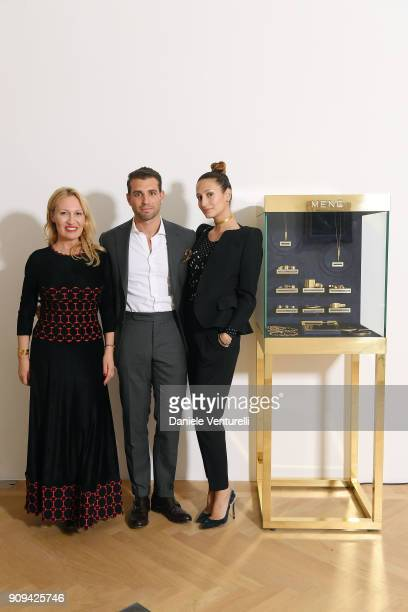 Diana Widmaier Picasso Siran Manoukian and Tommy Chiabra attend Mene 24 Karat Jewelry Presentation at Gagosian Gallery on January 23 2018 in Paris...