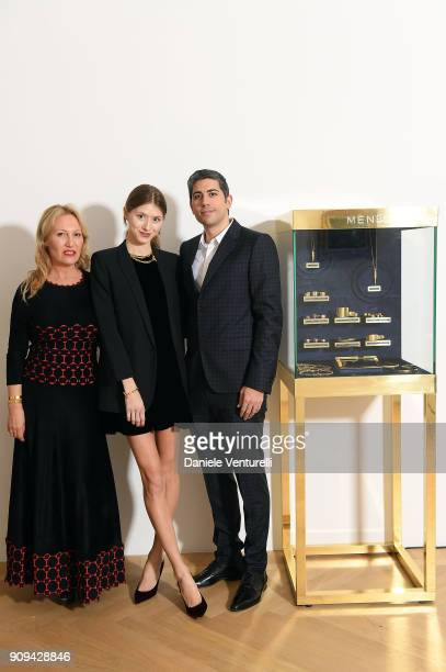 Diana Widmaier Picasso Victoria Gross and Roy Sebag attend Mene 24 Karat Jewelry Presentation at Gagosian Gallery on January 23 2018 in Paris France