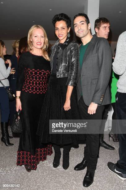 Diana WidmaierPicasso Farida Khelfa and Mohammed Al Turki attend Mene 24 Karat Jewelry Presentation at Gagosian Gallery on January 23 2018 in Paris...