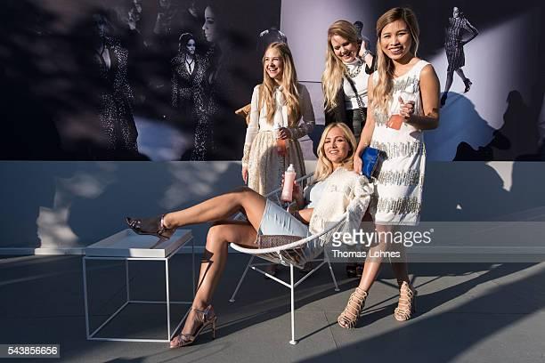 Diana zu Loewen Carmen Mercedes Kristina Derichs and Kisu are seen in the Quickcap car during the MercedesBenz Fashion Week Berlin Spring/Summer 2017...