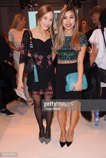 Diana zur Loewen and Kisu attend the Marcel Ostertag show during the MercedesBenz Fashion Week Berlin A/W 2017 at Delight Rental Studios on January...
