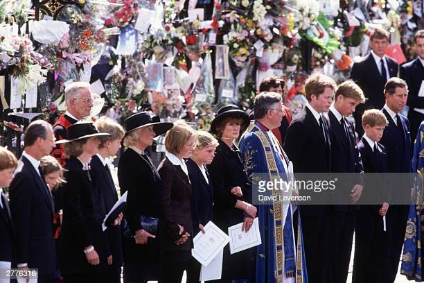 Diana's Family members including Diana's mother Frances ShandKydd Diana's elder sister Lady Sarah McCorquodale the 9th Earl Charles Spencer Prince...